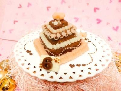 お豆腐の3段ケーキ【Sweety ショコラ】【犬用バースデーケーキ・犬用ケーキ・犬用おやつ・ペット用バースデーケーキ・ペット用ケーキ・ペット用おやつ】の画像4枚目