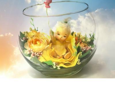 クレイアート シュシュべべ 天使赤ちゃん人形 風船 ガラスボール 薔薇 ローズ雑貨エンジェル アーティスト限定品