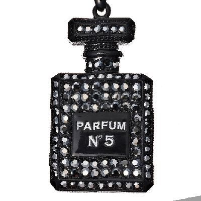 キーホルダー 角形香水瓶 ブラック (AKH019)