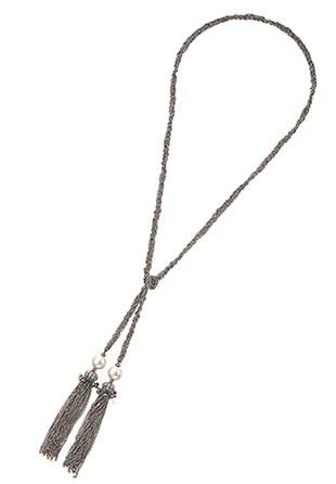 フリンジ付きロングネックレス ブラック×ゴールド (APD043)