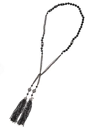 フリンジ付きロングネックレス ブラック (APD045)