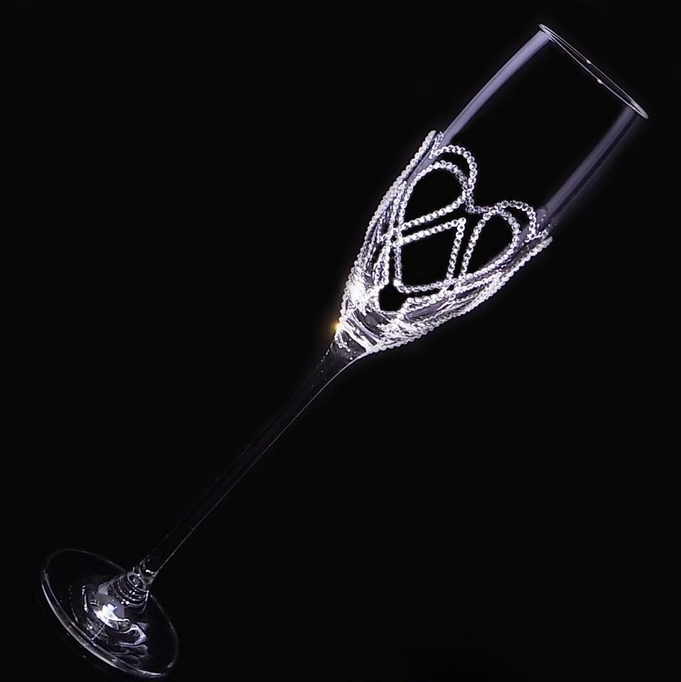 シャンパングラス 3連ハート&ダイヤ 結婚祝い・誕生日プレゼント・デコグラスの画像3枚目
