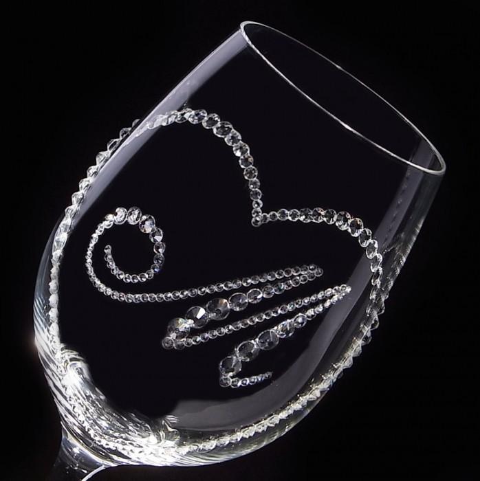 白ワイングラス オープンハート&イニシャル 結婚祝い・誕生日プレゼント・デコグラス