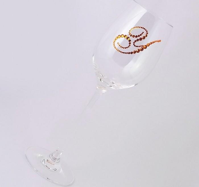 白ワイングラス イニシャル  結婚祝い・誕生日プレゼント・デコグラスの画像6枚目