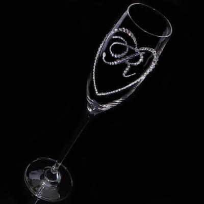 シャンパングラス オープンハート&イニシャル 結婚祝い 誕生日プレゼント デコグラスの画像2枚目