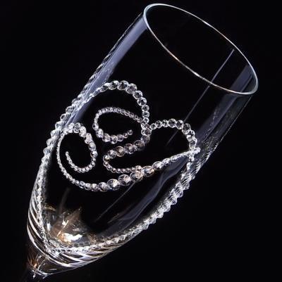 シャンパングラス オープンハート&イニシャル 結婚祝い 誕生日プレゼント デコグラスの画像3枚目
