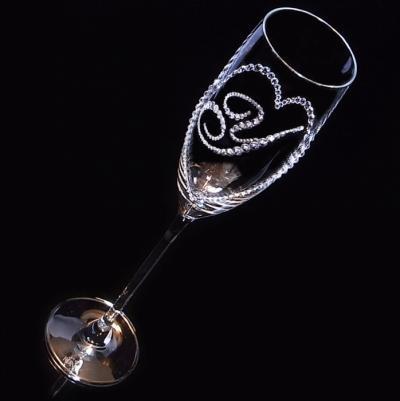 シャンパングラス オープンハート&イニシャル 結婚祝い 誕生日プレゼント デコグラスの画像4枚目