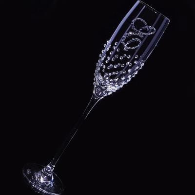 シャンパングラス イニシャル&ドット クリスタル 結婚祝い・誕生日プレゼント・デコグラスの画像2枚目