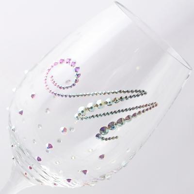 白ワイングラス イニシャル&ドット柄オーロラ 結婚祝い・誕生日プレゼント・デコグラスの画像2枚目