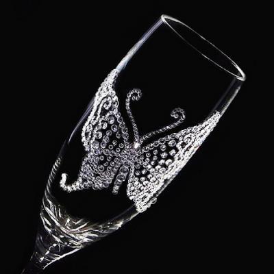 シャンパングラス バタフライ  結婚祝い・誕生日プレゼント・デコグラス