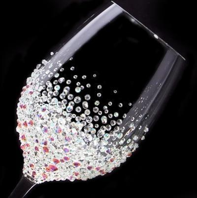 白ワイングラス バブルシャワー   結婚祝い・誕生日プレゼント・デコグラス