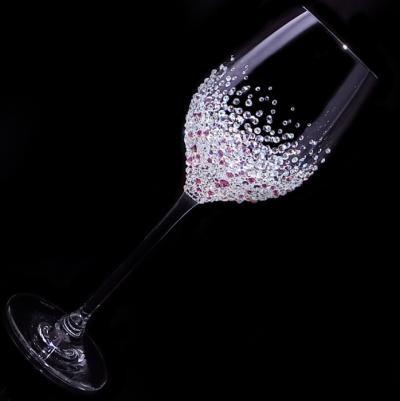 白ワイングラス バブルシャワー   結婚祝い・誕生日プレゼント・デコグラスの画像2枚目