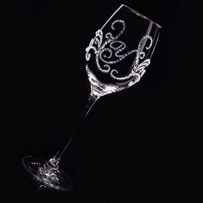 白ワイングラス ティアラ&イニシャル 筆記体   結婚祝い・誕生日プレゼント・デコグラスの画像3枚目