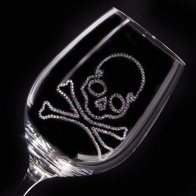 白ワイングラス スカル 結婚祝い・誕生日プレゼント・デコグラス