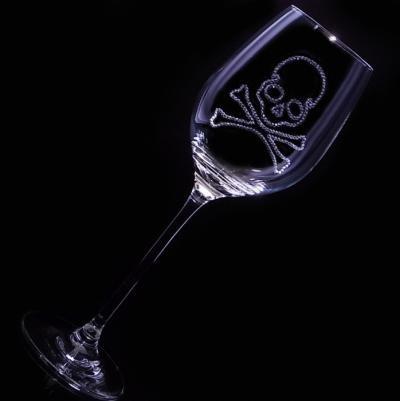白ワイングラス スカル 結婚祝い・誕生日プレゼント・デコグラスの画像2枚目