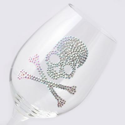 ワイングラス スカル フルデコレーション 結婚祝い・誕生日プレゼント・デコグラスの画像1枚目