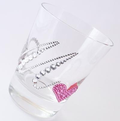 ロックグラス  イニシャル&ハート 結婚祝い・誕生日プレゼント・デコグラスの画像1枚目