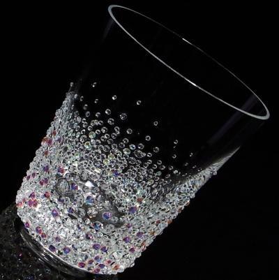 ロックグラス バブルシャワー 結婚祝い・誕生日プレゼント・デコグラスの画像1枚目