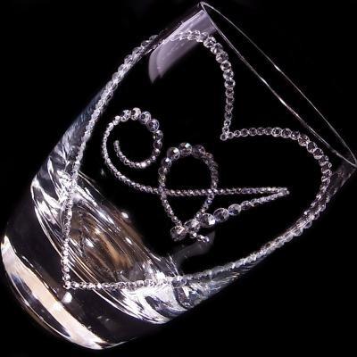 タンブラー オープンハート&イニシャル 結婚祝い・誕生日プレゼント・デコグラス