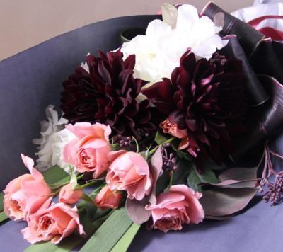 【ポイント10倍】【銀座花門】ワンサイドブーケM(ピンク)【花 フラワーギフト プレゼント お祝い 誕生日 贈り物】の画像2枚目