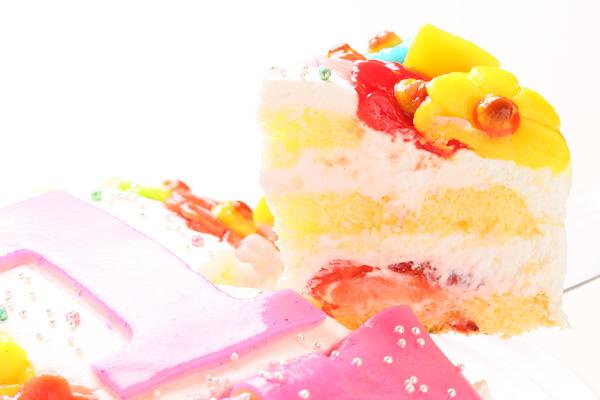 乳製品除去 デコもり。Happy 1st birthdaycake 豆乳クリーム 4号 12cmの画像3枚目