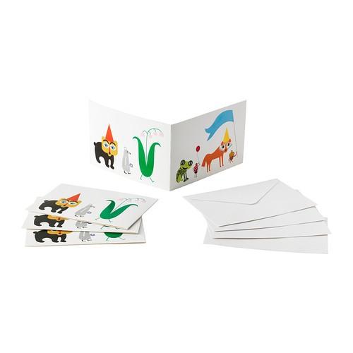 IKEA OVERLAGSEN 90277536 カード 封筒付 10x15 cm 4 ピース