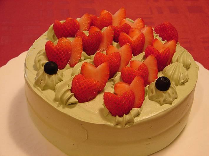 シェ・ワタナベ特製 卵・乳製品・小麦粉除去可能 ノンアレルギーケーキ 抹茶のケーキ 直径約17cm