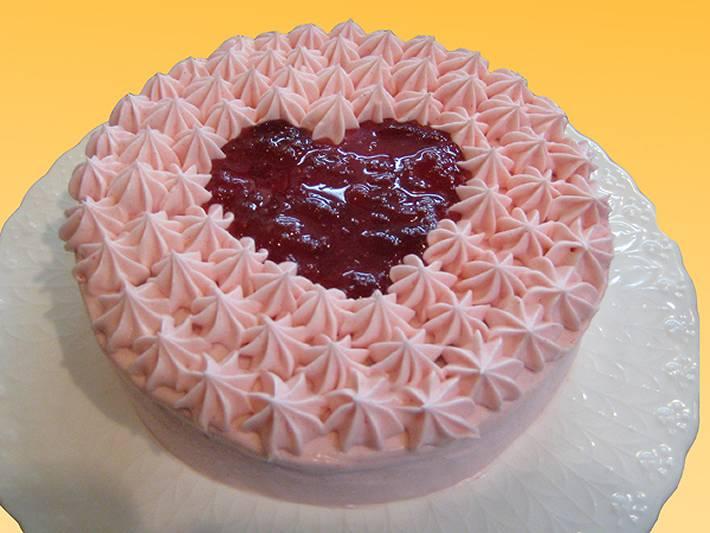 シェ・ワタナベ特製 卵・乳製品・小麦粉除去可能 ノンアレルギーケーキ ハートのフランボワーズケーキ 直径約17cm