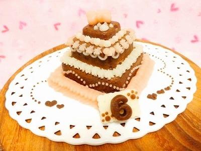 お豆腐の3段ケーキ【Sweety ショコラ】【犬用バースデーケーキ・犬用ケーキ・犬用おやつ・ペット用バースデーケーキ・ペット用ケーキ・ペット用おやつ】の画像1枚目