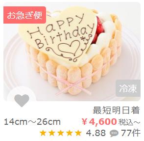 ケーキ画像下の表記