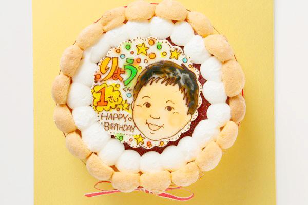 お子様向け! いちご味のヨーグルトムースケーキ +似顔絵 4号 12cmの画像1枚目