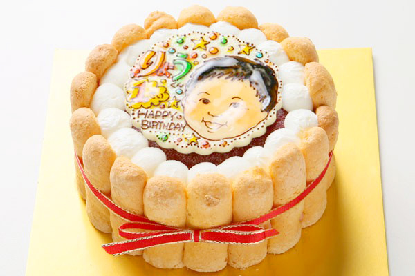お子様向け! いちご味のヨーグルトムースケーキ +似顔絵 4号 12cmの画像2枚目