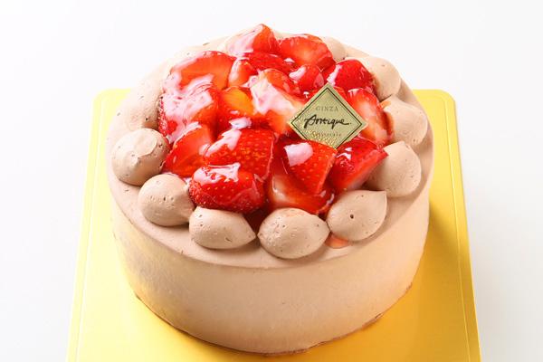 生チョコ苺盛りデコレーションケーキ 4号 12cmの画像1枚目