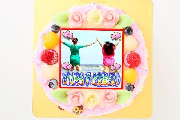 メッセージが入るお花畑の写真ケーキ