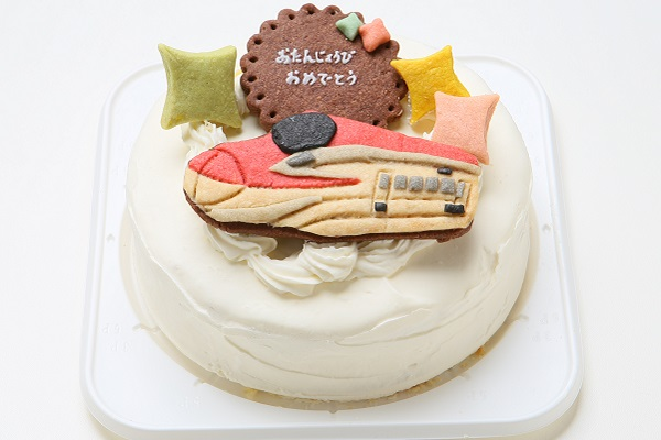 卵・乳製品除去可能 乗り物クッキーのデコレーションケーキ(ホワイト)☆国産小麦粉と安心材料 4号 12cmの画像2枚目