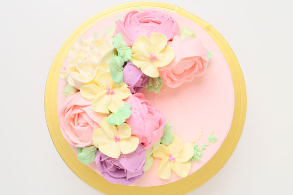 立体フラワーバタークリームデコレーションケーキ 5号 15cmの画像2枚目