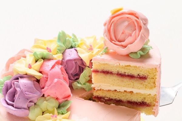 立体フラワーバタークリームデコレーションケーキ 5号 15cmの画像3枚目