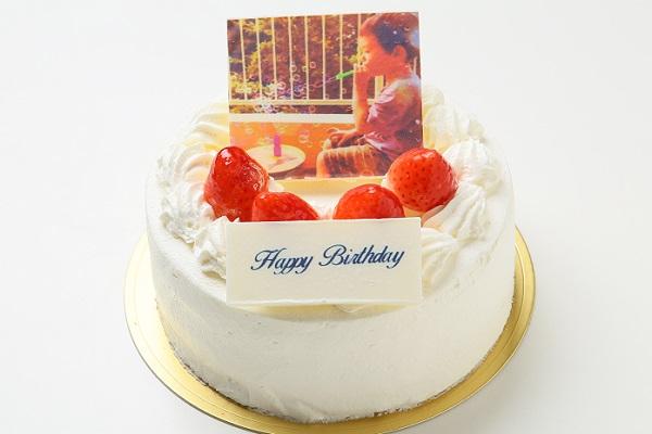 写真ケーキ 苺たっぷり!生クリームフォトデコレーションケーキ 5号 15cm