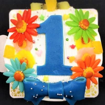 乳製品除去 デコもり。Happy 1st birthdaycake 豆乳クリーム 4号 12cmの画像10枚目