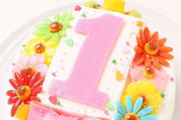 乳製品除去 デコもり。Happy 1st birthdaycake 豆乳クリーム 4号 12cmの画像6枚目