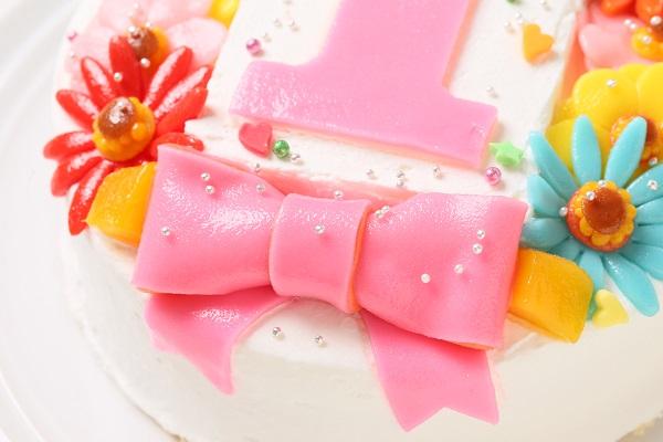 乳製品除去 デコもり。Happy 1st birthdaycake 豆乳クリーム 4号 12cmの画像7枚目
