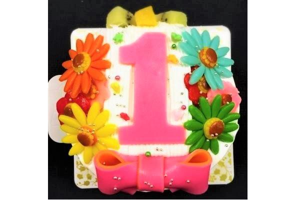 乳製品除去 デコもり。Happy 1st birthdaycake 豆乳クリーム 4号 12cmの画像9枚目