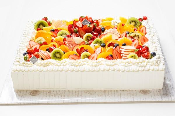 冷蔵直接配送 東京都23区内 パーティ用 フルーツデコレーションケーキ 長方形 18×25cm