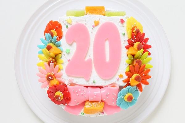 小麦粉除去 デコもり。Happy Number birthdaycake 4号 12cm
