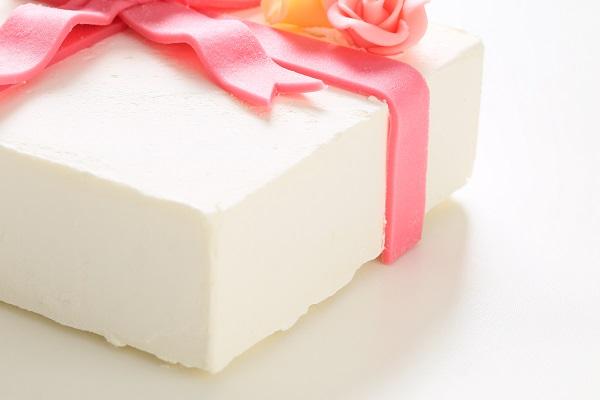 プレゼントボックスケーキ W ホワイト 15×5cmの画像8枚目
