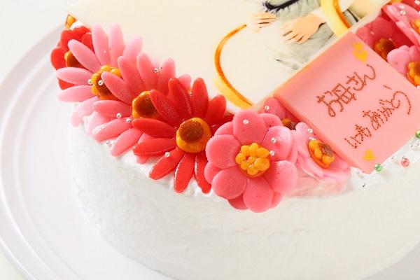お花いっぱいフォトケーキ 生クリーム 5号 15cmの画像7枚目