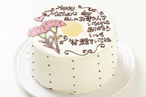 母の日 お手紙ケーキとカーネーション 直径17cmの画像1枚目