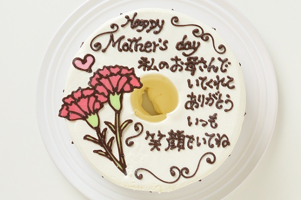 母の日 お手紙ケーキとカーネーション 直径17cmの画像2枚目