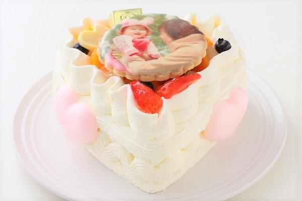 無添加ヨーグルトクリームのファーストバースデー 国産フルーツケーキ・ハート型 お写真のプリントクッキー付き 4号 12cm