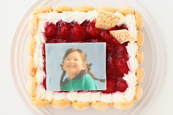 写真プレート付き レアチーズキャレ フォトケーキ 4号 12cmの画像1枚目